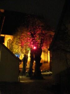 illuminierte Bäume im Klosterhof