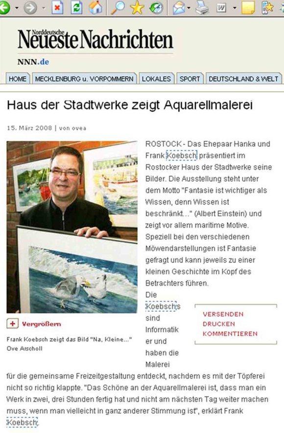 Veröffentlichungen in den Norddeutschen Neusten Nachrichten