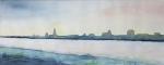 Ein Winternachmittag über Rostock (c) Aquarell von Frank Koebsch