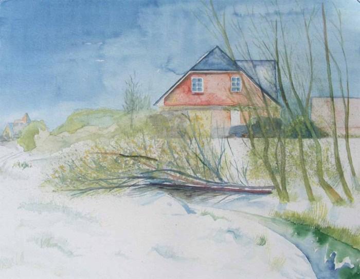 Hanningsaal im Winter (c) Aquarell von Frank Koebsch