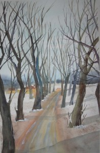 Winterallee (c) Aquarell von FRank Koebsch