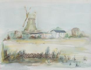 Winteransicht der Mühle in Neu Thulendorf (c) Aquarell von Frank Koebsch