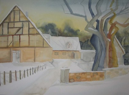 Fachwerk im Winter (c) Aquarell von Frank Koebsch