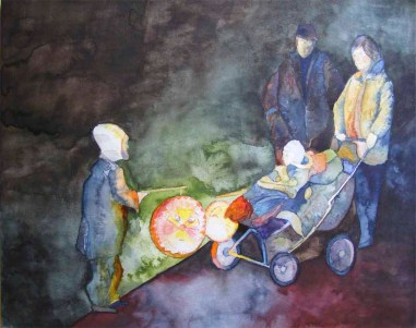 Begegnung - Ein Aquarell mit Laternenkinder (c) Frank Koebsch