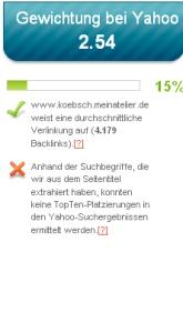 Gewichtung bei Yahoo