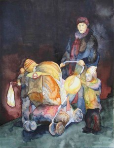 Laternenkinder (c) Aquarell von Frank Koebsch