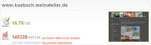 Ranking der Seite www. koebsch.meinatelier. de