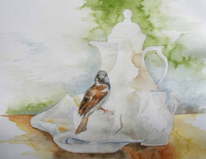 Besuch bei der Kaffeetafel (1) – Aquarelle mit frechen Spatzen an die ich beim Twittern denke