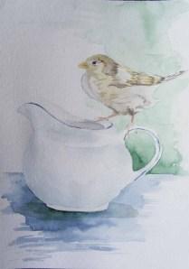 Besuch bei der Kaffeetafel (2) – Aquarelle mit frechen Spatzen an die ich beim Twittern denke