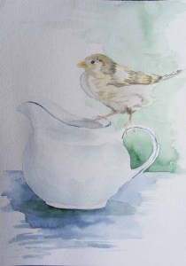 Besuch bei der Kaffeetafel (2) (c) Spatzen Aquarell von Frank Koebsch