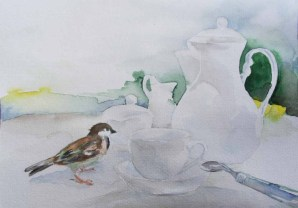 Besuch bei der Kaffeetafel – Aquarelle mit frechen Spatzen an die ich beim Twittern denke