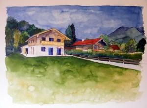 Haus am Tegernsee - Aquarell auf Papier - Frank Koebsch (C)
