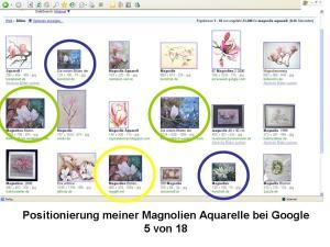 Positionierung Magnolien Aqurelle bei Google 5 von 18