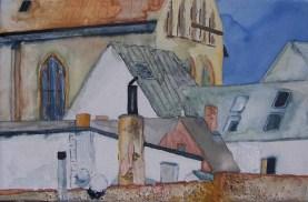 Detail an der Stadtmauer (c) Aquarell auf Leinwand von Frank Koebsch