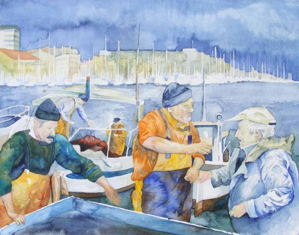 Fischmarkt von Marseille - Aquarell von Frank Koebsch