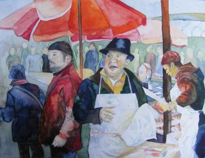 Händler auf dem Fischmarkt von Catania (c) Aquarell von Frank Koebsch