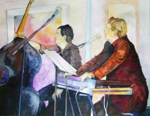 Joachim Boeskens, ein Teil NDR Jazztime (c) Aquarell von Frank Koebsch