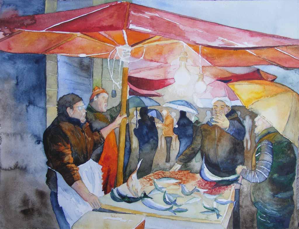 Plausch auf dem Fischmarkt von Catania (c) Aquarell von Frank Koebsch