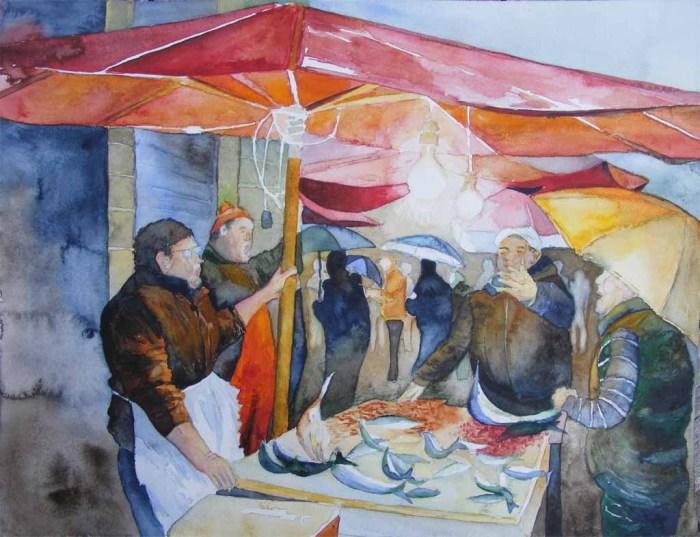 Plausch auf dem Fischmarkt von Catania - Aquarell von Frank Koebsch (c)