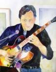 Christian Ahnsehl an der Gitarre - Aquarell von Frank Koebsch (c)