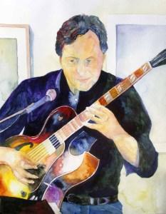 Christian Ahnsehl an der Gitarre (c) Aquarell von Frank Koebsch