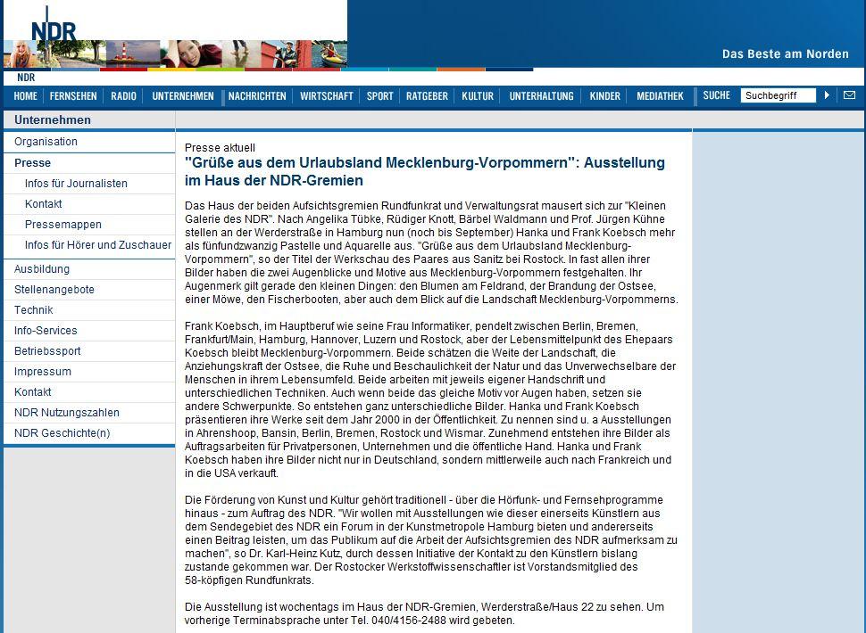 Pressemeldung des NDR vom 2010 06 02