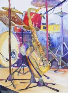 Stillleben - bevor es los geht (c) Jazz Aquarell von Frank Koebsch