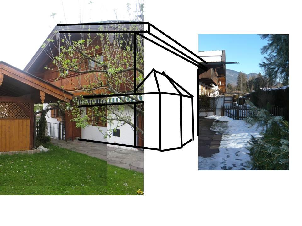Vorarbeit zur einer Skizze - Doppelhaus in Weissach