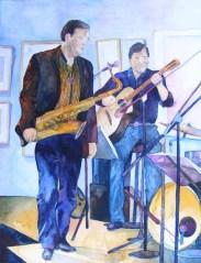 Warten auf den Einsatz (c) Aquarell zum Thema Jazz von Frank Koebsch