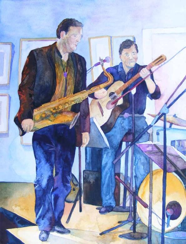 Warten auf den Einsatz - Aquarell zum Thema Jazz von Frank Koebsch (c)