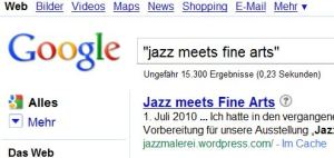 """Jazz meets Fine Arts"" auf Google"
