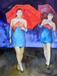 Tanz der Schirme (c) Aquarell von Frank Koebsch