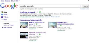 Ergebnis auf Google mit den Keyword You Tube - Aquarell