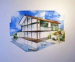 Haus in Großhöhenrain (c) Aquarell auf Leinwand von Frank Koebsch