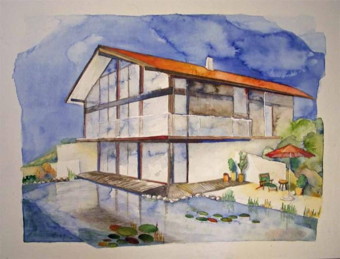 Haus in Großhöhenrain (c) Aquarell von Frank Koebsch