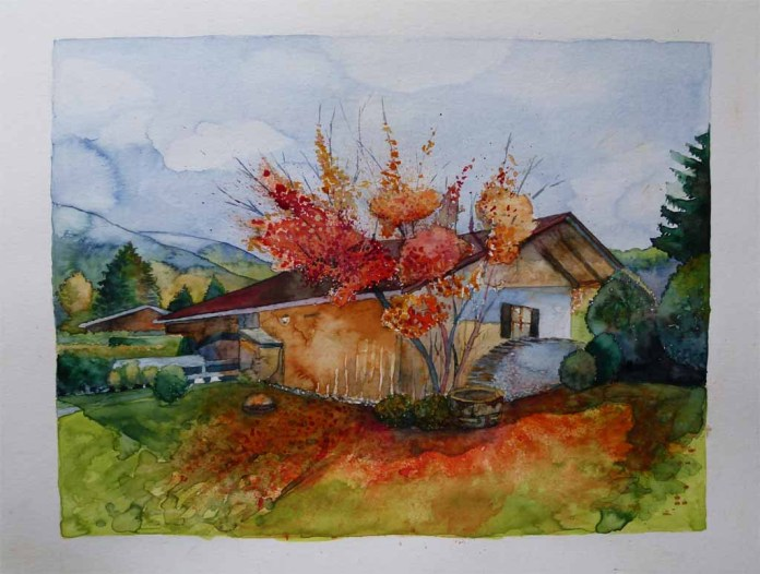 Indian Summer am Tegernsee (c) Aquarell von FRank Koebsch