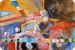 Auf der Überholspur im Karussell (c) Miniatur in Aquarell von Frank Koebsch