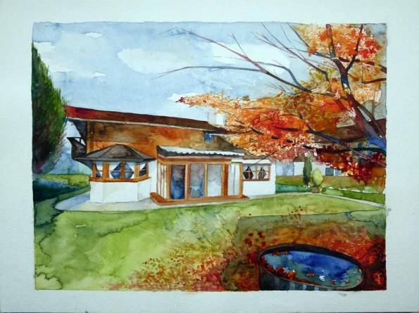 Das Jägerhaus in Rottach Egern (c) Aquarell von Frank Koebsch