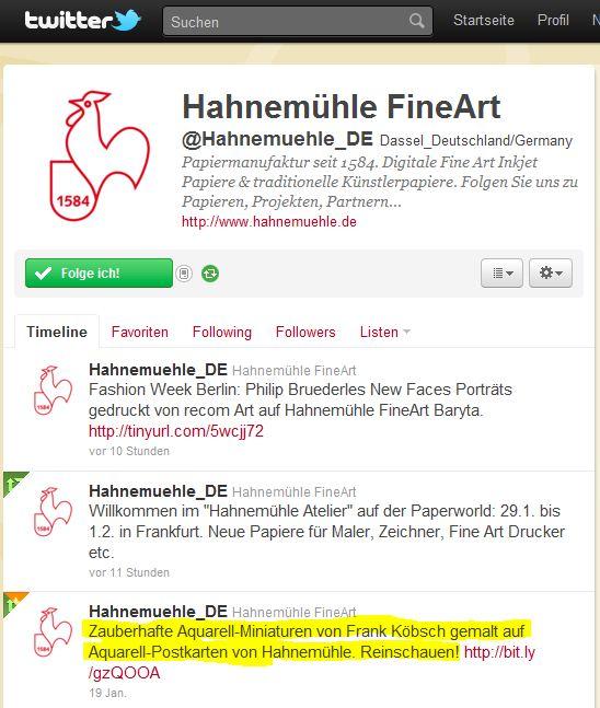 Hahnemühle FineArt und Frank Koebsch auf Twitter