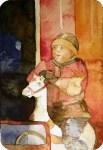 Knirps auf dem Karussellpferd (c) Miniatur in Aquarell von Frank Koebsch