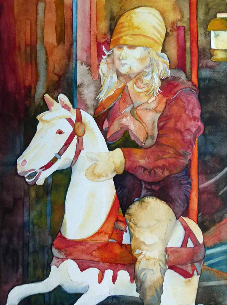 Mädchen im Karussell (c) Aquarell von  Frank Koebsch
