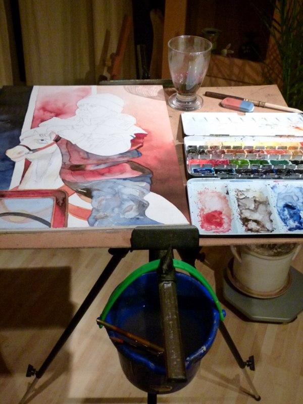 Rote Farbe und Rotwein im Arbeitsprozess