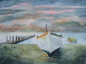 Boot im Abendlicht (c) Aquarell von Frank Koebsch