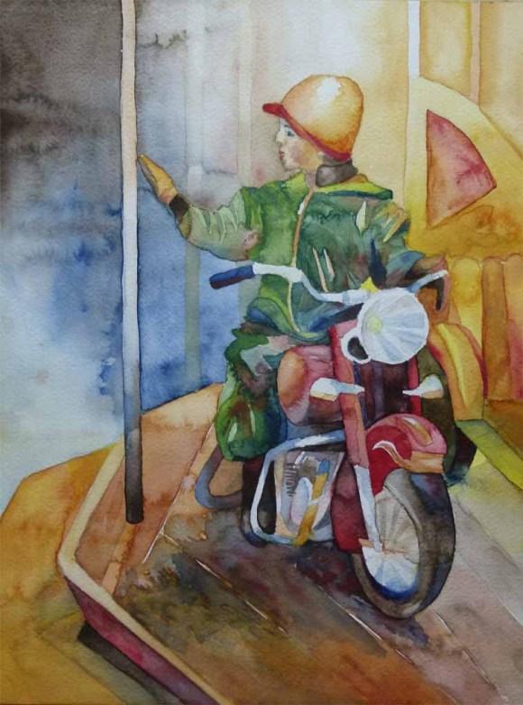 Ein Knirps rockt das Karussell (c) Aquarell von Frank Koebsch
