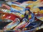 schneller immer schneller (c) Aquarell von Frank Koebsch