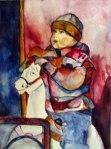 Knirps auf dem Kinderkarussell nach Frank Koebsch, Aquarell von Batheline