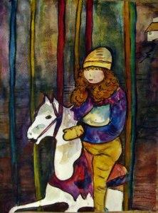 Mädchen auf dem Karussell nach Frank Koebsch - Aquarell von Batheline
