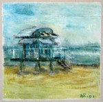 Strandhaus (c) Acryl auf Pizzakarton Helen Königs