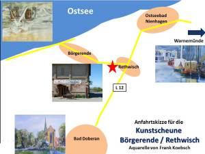 Anfahrtskizze Kunstscheune Börgerende / Rethwisch