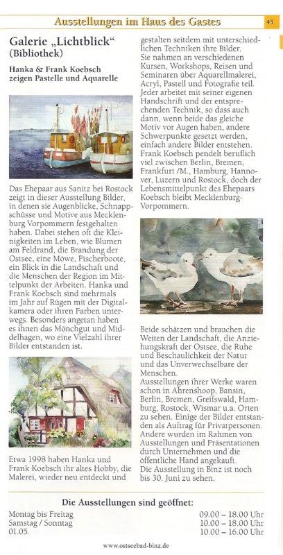 Ausstellungen in der Galerie Lichtblick - Hanka und Frank Koebsch